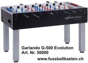 Der Garlando G500 Evolution ist ein hochwertig verarbeiteter Fussballtisch aus pflegeleichten Materialien.