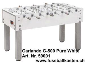Fussballtisch Garlando G500 pure white, Glasspielfläche
